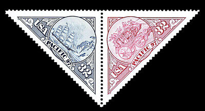 Scott 3130-31 32¢ - Pacific 97 Stamp Exhibition, Se-Tenant Triangle Pair - XFMNH