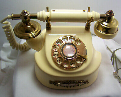 1970s Vtg Rotary Dial DUCHESS French Style Cream & Gold Telephone Tested