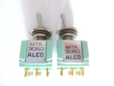 LOT of 2 Alco MTA306D ON - ON, Panel Mount Toggle Switch, AC 6A 125V, NOS,,Clean