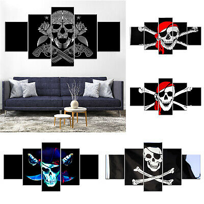 Pirate Crossbone Skull Canvas Print Painting Framed Home Deco Wall Art Poster 5P