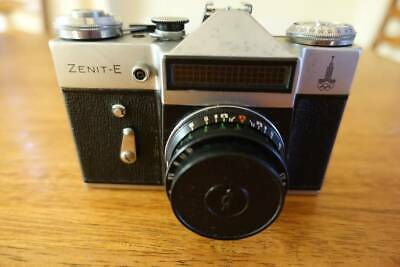Old Russian SLR film photo camera Zenit-E with Industar-50-2 lens