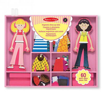 Melissa & Doug Abby and Emma Deluxe Magnetic Wooden Dress-Up Dolls Play Set...