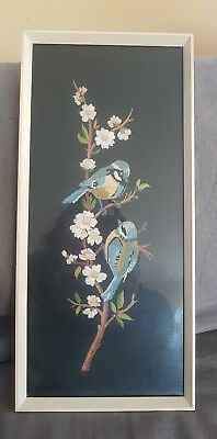vintage retro 60's embroidered blue tits framed picture