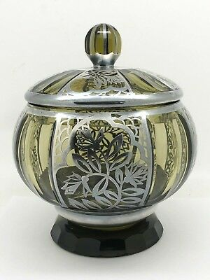 Sterling Silver Overlay On Green Glass Covered Jar