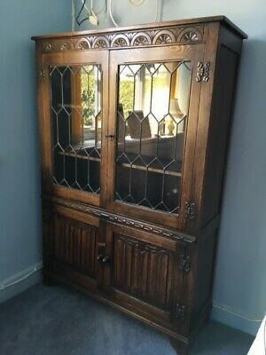 Antique bookcase and cupboard.  Glazed.  3 shelves.  Storage and display.  VGC.