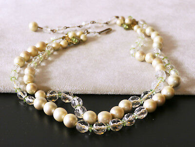 Vintage beaded two-strand necklace, faux pearls, peridot clear, fancy clasp