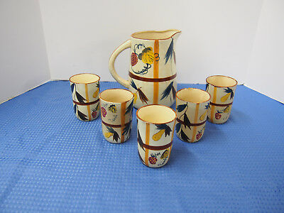Vintage 1950's Nasco Pitcher with 5 Juice Glasses in Hand Painted Fruit Pattern