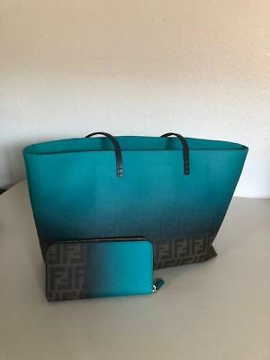 947550e6dd53 Authentic Fendi Two-Tone Teal  Tobacco Zucca Roll Tote Bag And Wallet