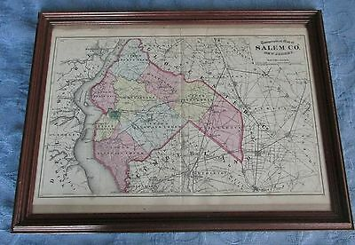 Framed Antique 1872 Beers,Comstock, & Cline Map of Salem County,New Jersey