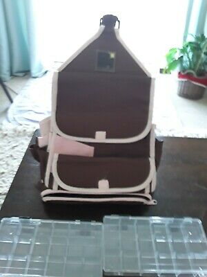 Papermania Craft Tote Bag Brown & pink with storage boxes