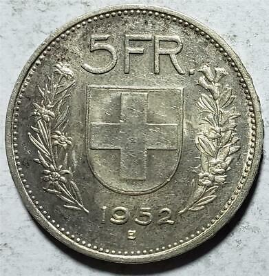 Switzerland, 5 Francs, 1952B, Toned XF-AU, Scarce Key Date, .4027 Ounce Silver