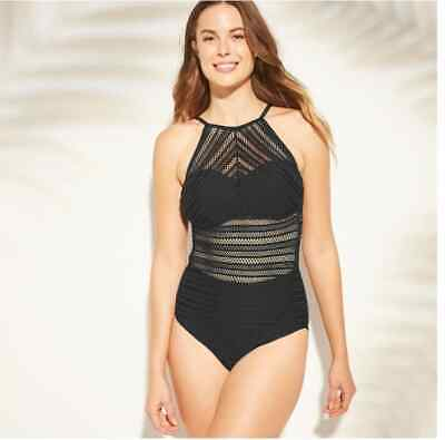 e5db44dfb7 Kona Sol Women's Crochet High Neck One Piece Swimsuit - Size Large New with  Tags
