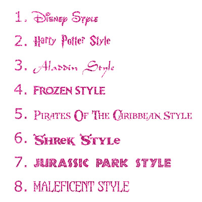 Personalised Name/Word Cut-Vinyl Decal Sticker 8 Kids Movie Fonts (Glitter)