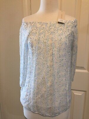 88b2fe87ad7b0f SMALL Giusy Italy SILK Top Gathered Neckline Offshoulder Floral Blue Tan  Flowy