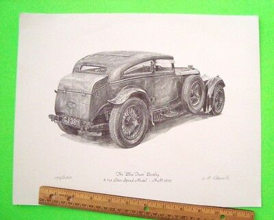 "HAND SIGNED & #'d ""THE BLUE TRAIN BENTLEY"" LITHO by L.R. DANIELS Gorgeous XLNT"