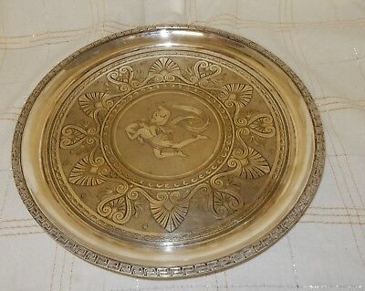 Vintage Mappin & Webb Silver Plated Tray Engraved Grecian God Figures to Centre