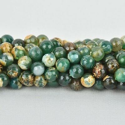 10mm Round FACETED EMERALD CITY Green Agate Beads full strand Gemstones gag0090