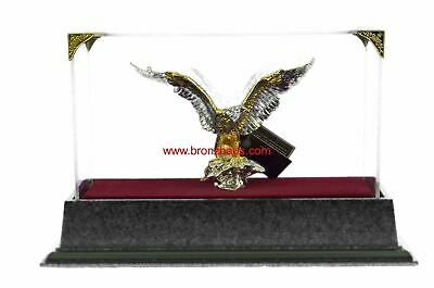 Gold & Silver Plated American Bald Eagle Figurine & Display Case