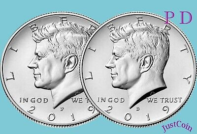 2019 P&D Kennedy Half Dollar Set Clad Two Coins Set Uncirculated