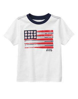 NWT Gymboree Boy RED WHITE & CUTE 2pc White Tee and Flag Shorts  Size 2T