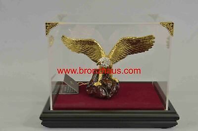 Gold & Silver Plated American Bald Eagle Metal Figurine & Display Case