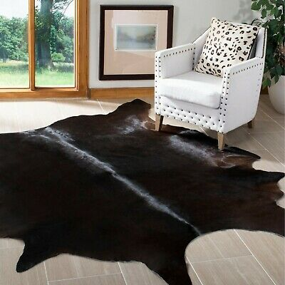 Small Cowhide Area Rug Black Chocolate Real Hair on Cow Hide Skin Leather 22sqft