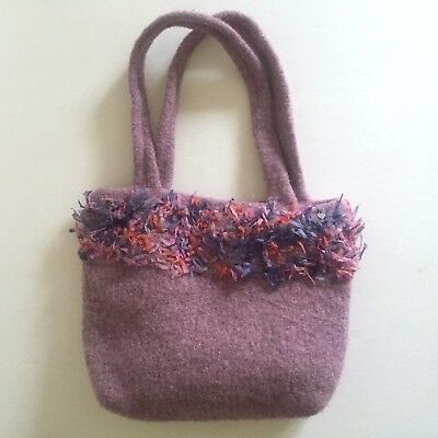 "Hand Knit Hand Felted Wool "" Fur "" Trimmed Lilac Purple Designer Tote Bag Purse"