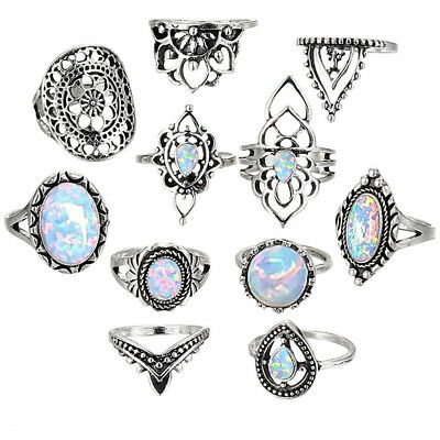 11pcs Retro Silver Fire Opal Ring Set Charm Gemstone Ring Female Ring Jewelry