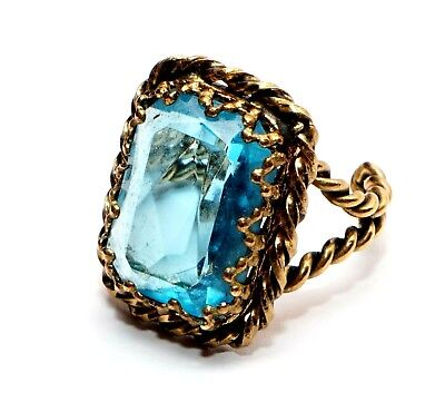 VINTAGE 50's  BLUE FACETED GLASS 20x15mm BRASS COCTAIL RING Sz ADJUSTABLE