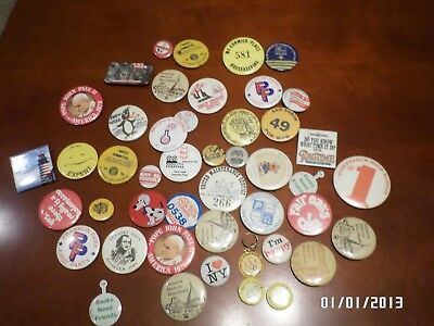 Big Lot of 45 Buttons Pins Pin Backs All Topics Union Pope John Paul II Illinois