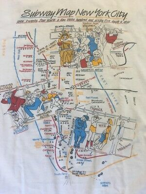 Vtg Nyc Subway Map T Shirt Small/Medium Made In USA by Tennessee River Inc