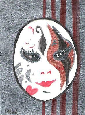 Aceo Sale! Sexy Mardi Gras Mask Original W'color Painting  Face Lips Eyes Black