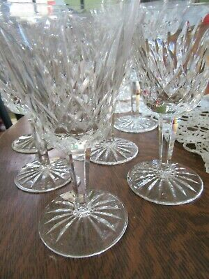 "Great set/6 WATERFORD CRYSTAL 6"" wine glasses ""Lismore"" pattern mint condition."