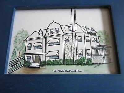 Clinton MacDougall Auburn NY History House Home Drawing Framed Pretty FREE SHIP