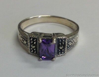 Estate Jewelry Beautiful Amethyst Marcasite .925 Sterling Silver Ring Size 6.75