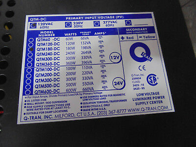 Q-Tran Qtm-180Dc 120/12-2X10A+Ck-S Qtm-Dc Led Power Supply & Housing, 12V 180W