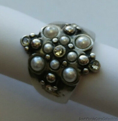 Estate Jewelry Beautiful Ladies Pearl CZ Ring .925 Sterling Silver Size 8.5