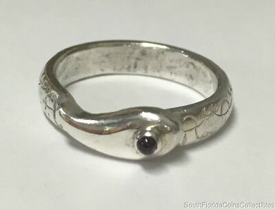 Estate Jewelry Ladies Snake Ruby Ring Sterling Silver Size 6.75