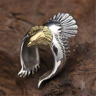 Retro Adjustable Metal Silver Ring Punk Eagle Bird Wing Open Band Ring Men LD