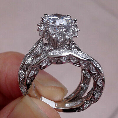 Women Temperament Faux Diamond Round Ring Engagement Wedding Party Jewelry LD