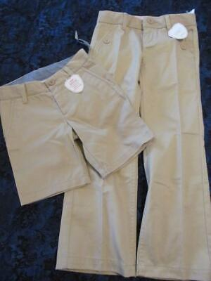 b45466455115c7 NWT 4 Regular 7 Slim Gap Kids Uniform Gap Shield Khaki Beige Tan Pants  Shorts