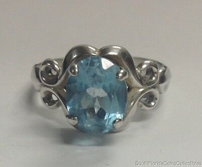 Estate Jewelry Beautiful Blue Stone .925 Sterling Silver Ring Size 8