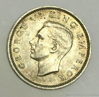 Rare 1941 New Zealand Silver Six Pence Coin About Uncirculated Condition