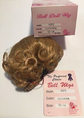 Color Size 13-14 New Bell Ceramics Doll Wig Style Dark Brown Curly PEACE
