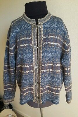 Cambridge Dry Goods Cardigan Sweater Large Fall Heavy Quality Blue Grey Clips L