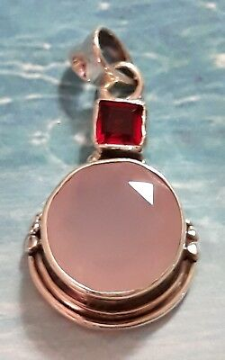 Faceted Rose Quartz and Rubellite Tourmaline 925 Solid Sterling Silver Pendant