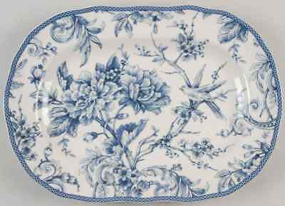 "222 Fifth ADELAIDE-BLUE & WHITE 14"" Oval Serving Platter 8995386"