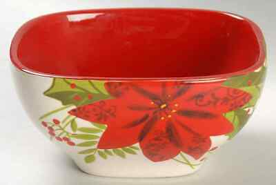 Gibson Designs POINSETTIA HOLLY BERRY Soup Cereal Bowl 8924217