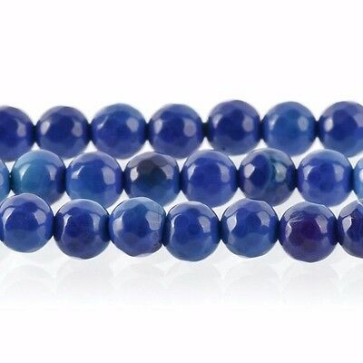 1 Strand Round FACETED Blue and Purple AGATE Beads, 6mm  Gemstones gag0113