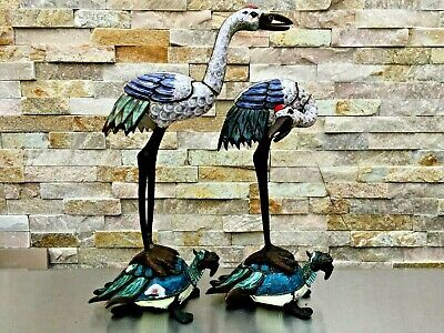 ANTIQUE 19th C CHINESE ENAMEL CLOISONNE ON CUPPER PAIR OF CRANES TURTLES STATUES